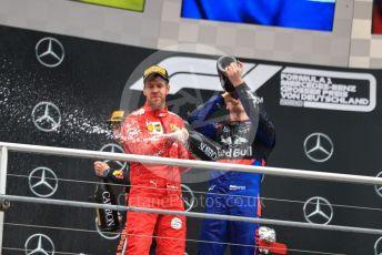 World © Octane Photographic Ltd. Formula 1 – German GP - Podium. Scuderia Ferrari SF90 – Sebastian Vettel and Scuderia Toro Rosso STR14 – Daniil Kvyat. Hockenheimring, Hockenheim, Germany. Sunday 28th July 2019.