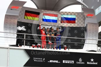 World © Octane Photographic Ltd. Formula 1 – German GP - Podium. Aston Martin Red Bull Racing RB15 – Max Verstappen, Scuderia Ferrari SF90 – Sebastian Vettel and Scuderia Toro Rosso STR14 – Daniil Kvyat. Hockenheimring, Hockenheim, Germany. Sunday 28th July 2019.