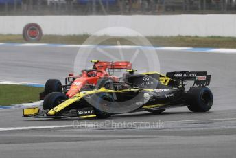 World © Octane Photographic Ltd. Formula 1 – German GP - Race. Renault Sport F1 Team RS19 – Nico Hulkenberg and Scuderia Ferrari SF90 – Charles Leclerc. Hockenheimring, Hockenheim, Germany. Sunday 28th July 2019.