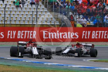 World © Octane Photographic Ltd. Formula 1 – German GP - Race. Alfa Romeo Racing C38 – Kimi Raikkonen and Antonio Giovinazzi and Scuderia Toro Rosso STR14 – Daniil Kvyat. Hockenheimring, Hockenheim, Germany. Sunday 28th July 2019.