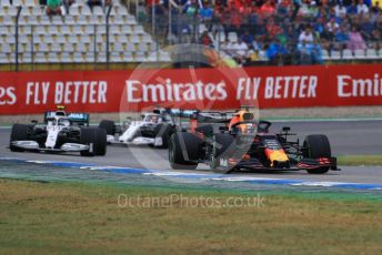 World © Octane Photographic Ltd. Formula 1 – German GP - Race. Aston Martin Red Bull Racing RB15 – Max Verstappen, Mercedes AMG Petronas Motorsport AMG F1 W10 EQ Power+ - Valtteri Bottas and Lewis Hamilton. Hockenheimring, Hockenheim, Germany. Sunday 28th July 2019.