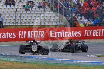 World © Octane Photographic Ltd. Formula 1 – German GP - Race. Rich Energy Haas F1 Team VF19 – Romain Grosjean and Kevin Magnussen. Hockenheimring, Hockenheim, Germany. Sunday 28th July 2019.