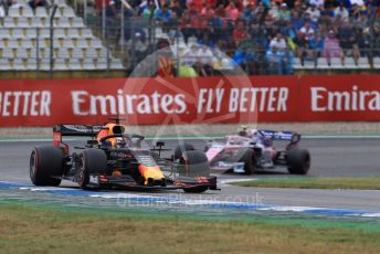 World © Octane Photographic Ltd. Formula 1 – German GP - Race. Aston Martin Red Bull Racing RB15 – Max Verstappen and World © Octane Photographic Ltd. Formula 1 – German GP - Race. SportPesa Racing Point RP19 – Lance Stroll. Hockenheimring, Hockenheim, Germany. Sunday 28th July 2019.