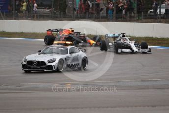 World © Octane Photographic Ltd. Formula 1 – German GP - Race. Mercedes AMG Petronas Motorsport AMG F1 W10 EQ Power+ - Lewis Hamilton and Aston Martin Red Bull Racing RB15 – Max Verstappen behind the safety car. Hockenheimring, Hockenheim, Germany. Sunday 28th July 2019.