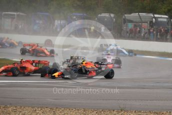 World © Octane Photographic Ltd. Formula 1 – German GP - Race. Scuderia Ferrari SF90 – Charles Leclerc, Aston Martin Red Bull Racing RB15 – Pierre Gasly and Rich Energy Haas F1 Team VF19 – Kevin Magnussen. Hockenheimring, Hockenheim, Germany. Sunday 28th July 2019.