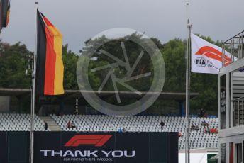 World © Octane Photographic Ltd. Formula 1 - German GP - Paddock. German and F1 flags. Hockenheimring, Hockenheim, Germany. Sunday 28th July 2019.