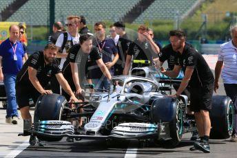 World © Octane Photographic Ltd. Formula 1 – Hungarian GP - Pitlane. Mercedes AMG Petronas Motorsport AMG F1 W10 EQ Power+ - Valtteri Bottas. Hungaroring, Budapest, Hungary. Thursday 1st August 2019.