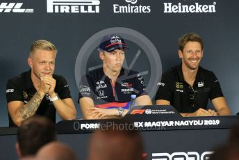 World © Octane Photographic Ltd. Formula 1 – Hungarian GP. FIA Drivers Press Conference. Rich Energy Haas F1 Team – Romain Grosjean, Rich Energy Haas F1 Team – Kevin Magnussen, Scuderia Toro Rosso – Daniil Kvyat. Hungaroring, Budapest, Hungary. Thursday 1st August 2019.