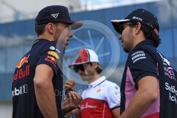World © Octane Photographic Ltd. Formula 1 – Hungarian GP - Drivers Parade. SportPesa Racing Point RP19 - Sergio Perez and Aston Martin Red Bull Racing RB15 – Pierre Gasly. Hungaroring, Budapest, Hungary. Sunday 4th August 2019.
