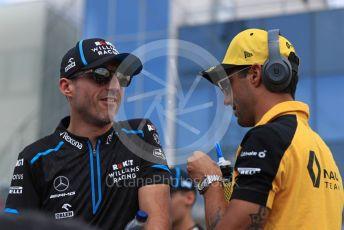 World © Octane Photographic Ltd. Formula 1 – Hungarian GP - Drivers Parade. Renault Sport F1 Team RS19 – Daniel Ricciardo and ROKiT Williams Racing FW42 – Robert Kubica. Hungaroring, Budapest, Hungary. Sunday 4th August 2019.