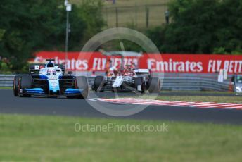 World © Octane Photographic Ltd. Formula 1 – Hungarian GP - Practice 1. ROKiT Williams Racing FW 42 – George Russell and Alfa Romeo Racing C38 – Kimi Raikkonen. Hungaroring, Budapest, Hungary. Friday 2nd August 2019.
