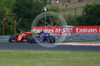 World © Octane Photographic Ltd. Formula 1 – Hungarian GP - Practice 1. Scuderia Toro Rosso STR14 – Daniil Kvyat and Scuderia Ferrari SF90 – Sebastian Vettel. Hungaroring, Budapest, Hungary. Friday 2nd August 2019.