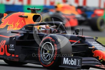World © Octane Photographic Ltd. Formula 1 – Hungarian GP - Practice 3. Aston Martin Red Bull Racing RB15 – Max Verstappen and Pierre Gasly. Hungaroring, Budapest, Hungary. Saturday 3rd August 2019.