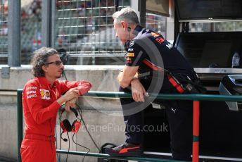 World © Octane Photographic Ltd. Formula 1 - Hungarian GP - Practice 3. Paul Monaghan - Chief Engineer of Red Bull Racing and Laurent Mekies – Sporting Director of Scuderia Ferrari. Hungaroring, Budapest, Hungary. Saturday 3rd August 2019.