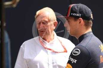 World © Octane Photographic Ltd. Formula 1 – Hungarian GP - Practice 3. Aston Martin Red Bull Racing RB15 – Max Verstappen with Helmut Marko - advisor to the Red Bull GmbH Formula One Teams and head of Red Bull's driver development program. Hungaroring, Budapest, Hungary. Saturday 3rd August 2019.