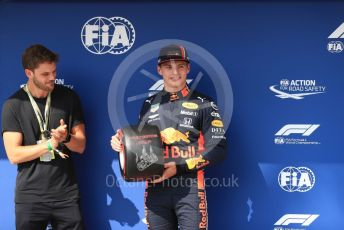 World © Octane Photographic Ltd. Formula 1 – Hungarian GP - Qualifying. Aston Martin Red Bull Racing RB15 – Max Verstappen receives the Pirelli Pole Position Award from the Pirelli Representative, actor Jeremy Irvine. Hungaroring, Budapest, Hungary. Saturday 3rd August 2019.