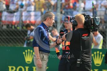 World © Octane Photographic Ltd. Formula 1 – Hungarian GP - Qualifying. Aston Martin Red Bull Racing RB15 – Max Verstappen and and Paul di Resta. Hungaroring, Budapest, Hungary. Saturday 3rd August 2019.