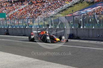 World © Octane Photographic Ltd. Formula 1 – Hungarian GP - Podium. Aston Martin Red Bull Racing RB15 – Max Verstappen makes a late stop after being overtaken. Hungaroring, Budapest, Hungary. Sunday 4th August 2019.
