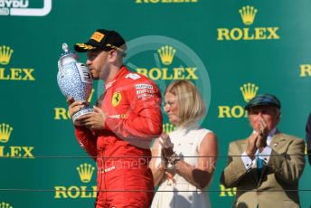 World © Octane Photographic Ltd. Formula 1 – Hungarian GP - Podium. Scuderia Ferrari SF90 – Sebastian Vettel. Hungaroring, Budapest, Hungary. Sunday 4th August 2019.