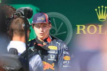 World © Octane Photographic Ltd. Formula 1 – Hungarian GP - Parc Ferme. Aston Martin Red Bull Racing RB15 – Max Verstappen. Hungaroring, Budapest, Hungary. Sunday 4th August 2019.