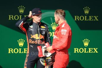 World © Octane Photographic Ltd. Formula 1 – Hungarian GP - Parc Ferme. Scuderia Ferrari SF90 – Sebastian Vettel and Aston Martin Red Bull Racing RB15 – Max Verstappen. Hungaroring, Budapest, Hungary. Sunday 4th August 2019.