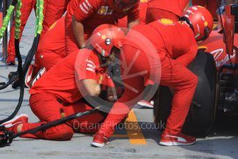 World © Octane Photographic Ltd. Formula 1 – Hungarian GP - Setup.  Scuderia Ferrari SF90 pitstop practice. Hungaroring, Budapest, Hungary. Saturday 3rd August 2019.