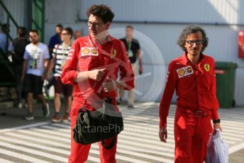 World © Octane Photographic Ltd. Formula 1 - Hungarian GP - Paddock. Mattia Binotto – Team Principal of Scuderia Ferrari and Laurent Mekies – Sporting Director of Scuderia Ferrari. Hungaroring, Budapest, Hungary. Sunday 4th August 2019.