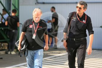 World © Octane Photographic Ltd. Formula 1 - Hungarian GP - Paddock. Gene Haas  - Founder and Chairman of Rich Energy Haas F1 Team and Guenther Steiner  - Team Principal of Rich Energy Haas F1 Team. Hungaroring, Budapest, Hungary. Sunday 4th August 2019.