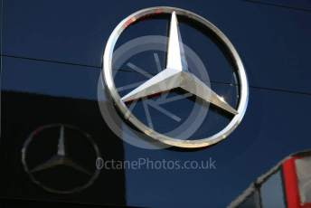 World © Octane Photographic Ltd. Formula 1 - Hungarian GP - Paddock. Mercedes logo. Hungaroring, Budapest, Hungary. Sunday 4th August 2019.