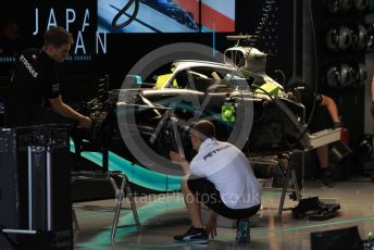 World © Octane Photographic Ltd. Formula 1 – Japanese GP - Evening teardown and Typhoon Hagibis preparations. Mercedes AMG Petronas Motorsport AMG F1 W10 EQ Power+ - Lewis Hamilton. Suzuka Circuit, Suzuka, Japan. Friday 11th October 2019.