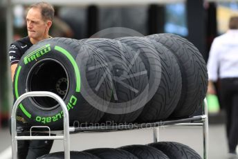World © Octane Photographic Ltd. Formula 1 – Japanese GP - Paddock. Pirelli intermediate tyres. Suzuka Circuit, Suzuka, Japan. Thursday 10th October 2019.