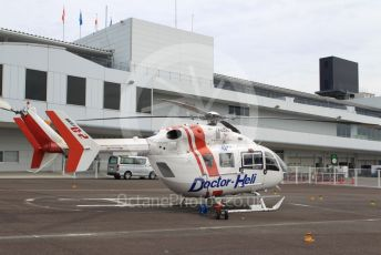 World © Octane Photographic Ltd. Formula 1 – Japanese GP - Practice 1. MBB-Kawasaki BK117C-2 J6923 Medical Helicopter. Suzuka Circuit, Suzuka, Japan. Friday 11th October 2019.