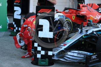 World © Octane Photographic Ltd. Formula 1 – Japanese GP - Parc Ferme. Scuderia Ferrari SF90 – Sebastian Vettel checking out Bottas' Mercedes. Suzuka Circuit, Suzuka, Japan. Sunday 13th October 2019.