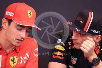 World © Octane Photographic Ltd. Formula 1 – Monaco GP. FIA Drivers Press Conference. Scuderia Ferrari SF90 – Charles Leclerc and Aston Martin Red Bull Racing RB15 – Max Verstappen. Monte-Carlo, Monaco. Wednesday 22nd May 2019.