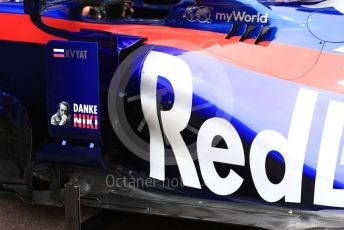 World © Octane Photographic Ltd. Formula 1 – Monaco GP. Scrutineering. Scuderia Toro Rosso STR14 with Danke Niki markings. Monte-Carlo, Monaco. Wednesday 22nd May 2019.