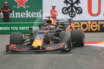 World © Octane Photographic Ltd. Formula 1 – Monaco GP. Practice 1. Aston Martin Red Bull Racing RB15 – Max Verstappen. Monte-Carlo, Monaco. Thursday 23rd May 2019.