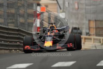 World © Octane Photographic Ltd. Formula 1 – Monaco GP. Practice 1. Aston Martin Red Bull Racing RB15 – Max Verstappen. Monte-Carlo, Monaco. Thursday 23rd May 2019.