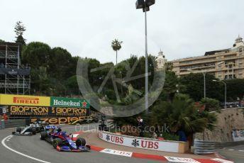 World © Octane Photographic Ltd. Formula 1 – Monaco GP. Practice 1. Scuderia Toro Rosso STR14 – Daniil Kvyat, Mercedes AMG Petronas Motorsport AMG F1 W10 EQ Power+ - Lewis Hamilton and Renault Sport F1 Team RS19 – Nico Hulkenberg. Monte-Carlo, Monaco. Thursday 23rd May 2019.