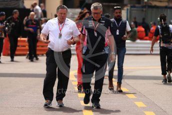 World © Octane Photographic Ltd. Formula 1 - Monaco GP. Practice 3. Zak Brown - Executive Director of McLaren Technology Group and Otmar Szafnauer - Team Principal of SportPesa Racing Point.  Monte-Carlo, Monaco. Saturday 25th May 2019.