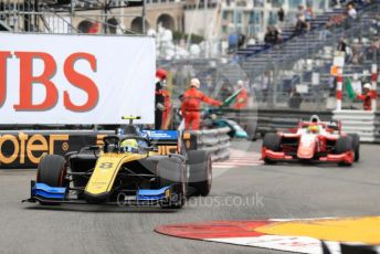 World © Octane Photographic Ltd. FIA Formula 2 (F2) – Monaco GP - Race 1. Virtuosi Racing - Luca Ghiotto and Prema Racing – Mick Schumacher. Monte-Carlo, Monaco. Friday 24th May 2019.