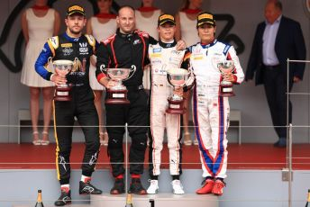 World © Octane Photographic Ltd. FIA Formula 2 (F2) – Monaco GP - Race 1 Podium. ART Grand Prix - Nyck de Vries, Virtuosi Racing - Luca Ghiotto and Carlin - Nobuharu Matsushita. Monte-Carlo, Monaco. Friday 24th May 2019.