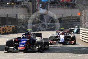 World © Octane Photographic Ltd. FIA Formula 2 (F2) – Monaco GP - Race 2. Carlin - Nobuharu Matsushita and Trident - Ralph Boschung. Monte-Carlo, Monaco. Saturday 25th May 2019.