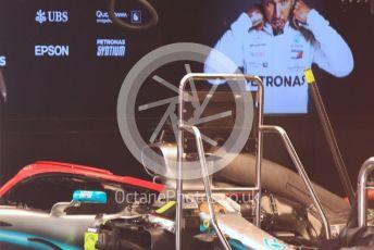 World © Octane Photographic Ltd. Formula 1 – Monaco GP. Pitlane. Mercedes AMG Petronas Motorsport AMG F1 W10 EQ Power+ with red Niki Lauda tribute halo. Monte-Carlo, Monaco. Saturday 25th May 2019.