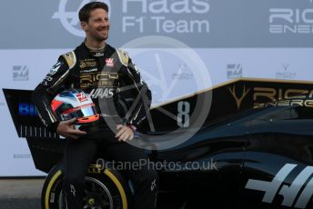 World © Octane Photographic Ltd. Formula 1 – Winter Testing - Test 1 - Day 1. Rich Energy Haas F1 Team VF19 launch – Romain Grosjean. Circuit de Barcelona-Catalunya. Monday 18th February 2019.