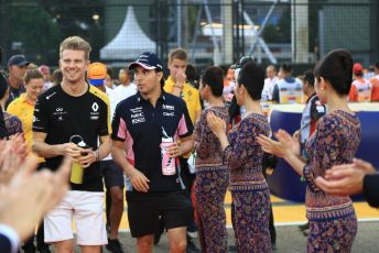 World © Octane Photographic Ltd. Formula 1 – Singapore GP - Drivers Parade. Renault Sport F1 Team RS19 – Nico Hulkenberg and SportPesa Racing Point RP19 - Sergio Perez. Marina Bay Street Circuit, Singapore. Sunday 22nd September 2019.