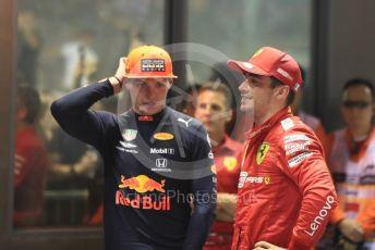 World © Octane Photographic Ltd. Formula 1 – Singapore GP - Race Podium. Scuderia Ferrari SF90 – Charles Leclerc and  Aston Martin Red Bull Racing RB15 – Max Verstappen. Marina Bay Street Circuit, Singapore. Sunday 22nd September 2019.