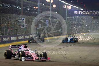 World © Octane Photographic Ltd. Formula 1 – Singapore GP - Race. Haas F1 Team VF19 – Romain Grosjean and ROKiT Williams Racing FW42 – Robert Kubica. Marina Bay Street Circuit, Singapore. Sunday 22nd September 2019.