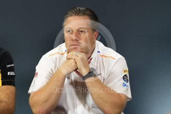 World © Octane Photographic Ltd. Formula 1 - Hungarian GP – Friday FIA Team Press Conference. Zak Brown - Executive Director of McLaren Technology Group. Marina Bay Street Circuit, Singapore. Friday 20th September 2019.