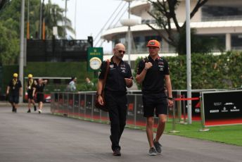 World © Octane Photographic Ltd. Formula 1 - Singapore GP - Paddock. Aston Martin Red Bull Racing RB15 – Max Verstappen and Adrian Newey - Chief Technical Officer of Red Bull Racing. Marina Bay Street Circuit, Singapore. Friday 20th September 2019.