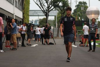 World © Octane Photographic Ltd. Formula 1 – Singapore GP - Paddock. SportPesa Racing Point RP19 – Lance Stroll. Marina Bay Street Circuit, Singapore. Friday 20th September 2019.